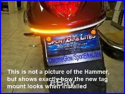 VICTORY HAMMER UNDER FENDER LED TURN SIGNAL BAR KIT with Tag Mount Smoked Lens