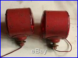 VinTagE pair SIGNAL STAT 18 Turn Signal Tail Red LENSES Light TRUCK Fender Bus
