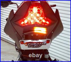 Z400 & Ninja 400 Tucked Fender Eliminator with LED Turn Signal Light Bar, Clear